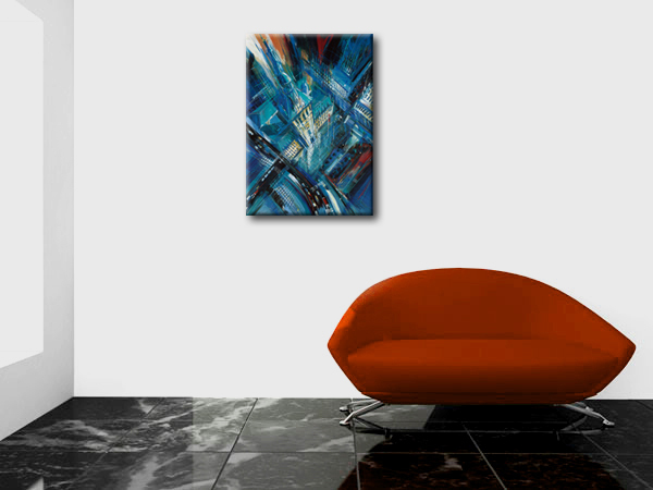 City skyscraper picture oil painting for living room wall painting decoration canvas art home decoration paint