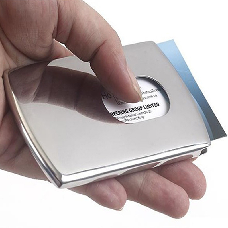 Business Card Holder Thumb Slide Out Stainless Steel Pocket ID ...