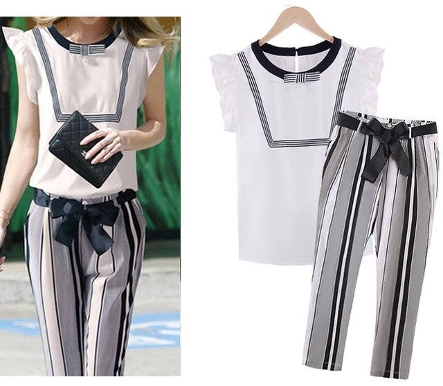 Plus Size XL-5XL Casual Women's Set White Blouse + Striped Papris 2 Pieces Sets With Belt Bow Design Women Clothing S6501