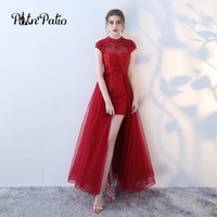Sexy Burgundy Color Long Evening Dress 2018 Sequins Lace Transparent Backless Graduation Evening Dresses Elegant Maxi Red Gown
