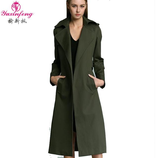 Nova queda Mulheres Trench Coat Plus Size Feminino Exército Verde Mulher casaco de Primavera 2017 Sólidos manga Comprida Mulheres Blusão Marca s-3XL