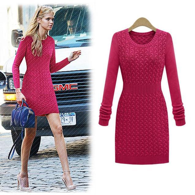 Long sleeved woollen dresses with sleeves
