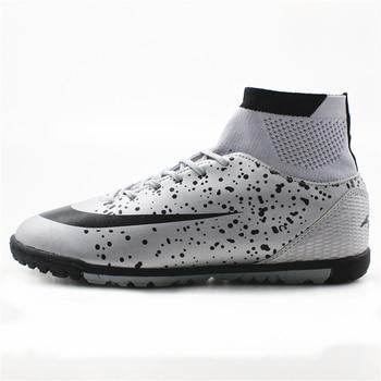 Maultby męska czarny srebrny wysoka kostka murawa podeszwa kryte korki buty piłkarskie piłka nożna knagi #08 H