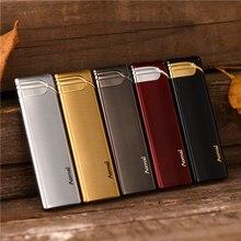 Portable Flat Long Ultra-thin Strip Windproof Lighter Metal Gas Lighter Blue Flame Refillable Butane Cigarette Lighter все цены