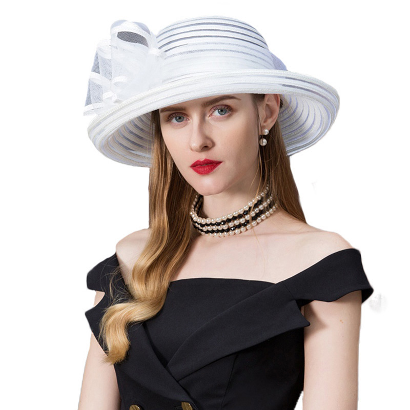 Woman Hat Summer 2019 White Wide Brim kentucky Derby Hats For Women Elegant Church Fedoras With Bowknot Chapeau Femme Feutre