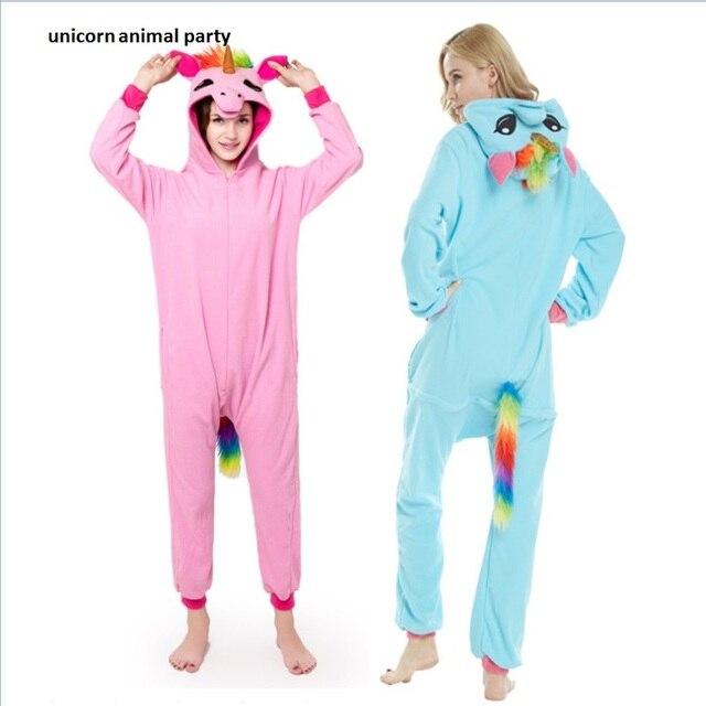 0faed1d1fd Kigurumi pijamas adultos unicornio Unisex Cosplay traje mono azul lémur  ropa de dormir Homewear Unisex pijamas