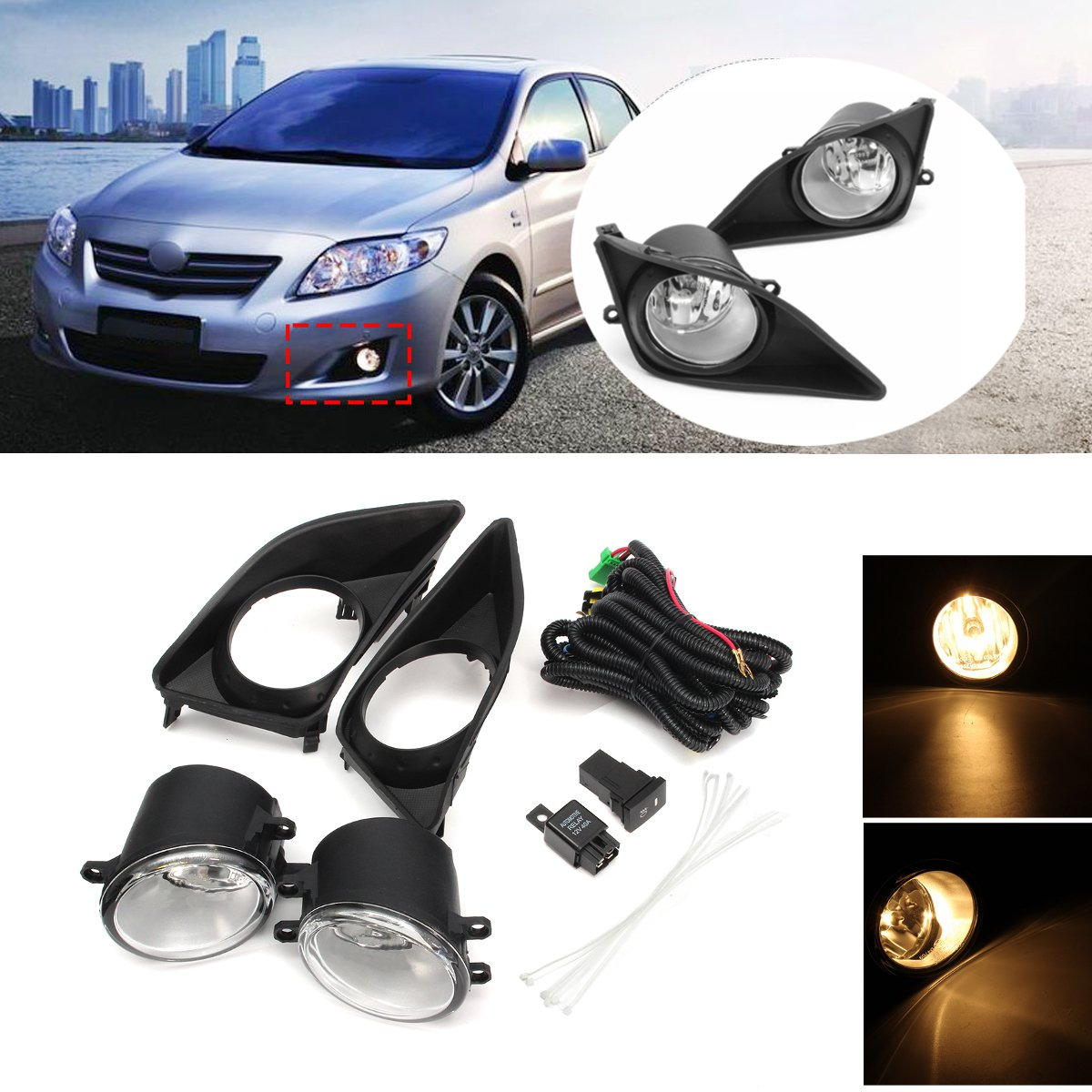 2Pcs Front Bumper Left Right Fog Light Lamp+Black Grille Covers Switch H11 Bulbs For Toyota Corolla 2008-2010 2pcs front bumper left right fog light lamp black grille covers switch h11 bulbs for toyota corolla 2008 2010