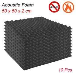 10 pces tratamento de espuma acústica som-absorção de ruído esponja sala de estúdio absorção cunha telhas espuma 50x50x2 cm