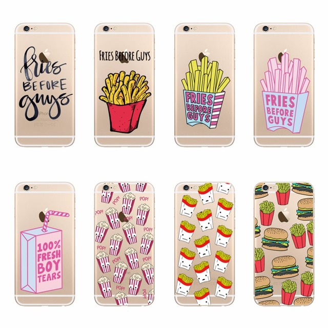 competitive price 397f6 960ce US $1.11 5% OFF Hard PC Phone Case For iPhone 7 Plus 8 Plus 6 6s Plus 5 5s  SE FRIES BEFORE GUYS FRESH BOY TEARS Transparent Crysta Clear Covers-in ...