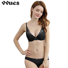 VVUES Sexy Push Up Bra Womens Bras And Underwear Sets Set For Women Lace Transparent Briefs Lingerie