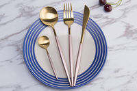 Best Hot Sale 4 Pcs/set Pink Gold Color Dinnerware Set 304 Stainless Steel Western Cutlery Kitchen Rose Gold Flatware Dinner Set