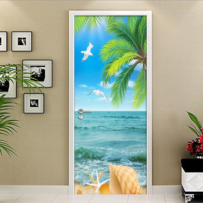 Coconut Tree Sea Water Sea View Living Room Bedroom Door Sticker Mural Wallpaper PVC Self-adhesive Door Mural Papel De Parede 3D v8 sea view ex view talay marina beach 3 паттайя
