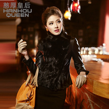 Factory wholesale New Ladies' genuine leather coat,Elegant women's sheepskin jacket coat,real leather mink fur coat FQ999