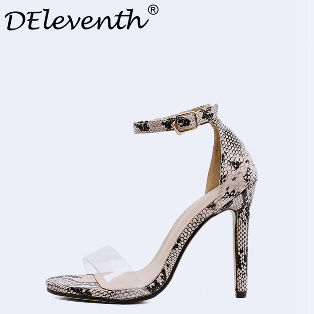 8432109b8d Summer Shoes Women Sandals High Heels Snakeskin Sexy Black Ankle Strappy  Sandals Female Thin High Heels Sandals Stiletto Peep To
