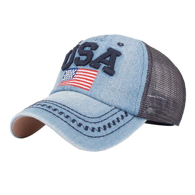 Women men American Flag Baseball Cap Unisex Snapback Hip Hop Flat Hat USA  Letter Unisex mesh 2152324684d5