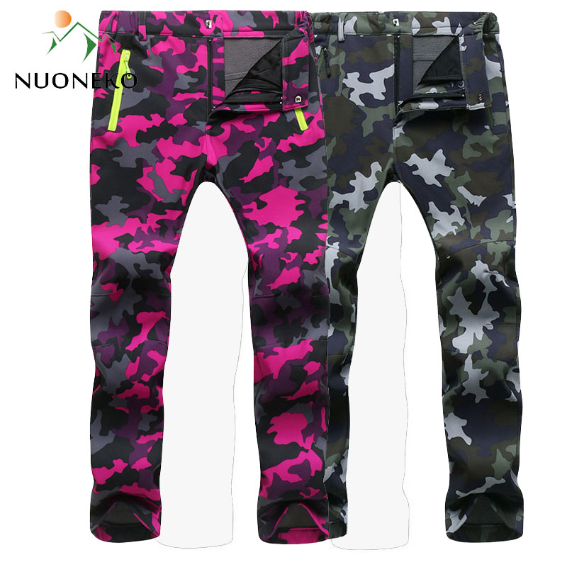 NUONEKO 2019 Women Men Fleece Warm Pants Windproof Hiking Pants Outdoor Camping Fishing Skiing Trekking Trousers Waterproof PM24