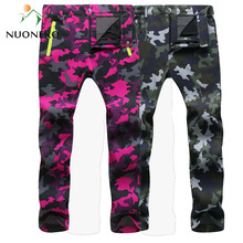 NUONEKO 2019 Women Men Fleece Warm Pants Windproof Hiking Outdoor Camping Fishing Skiing Trekking Trousers Waterproof PM24