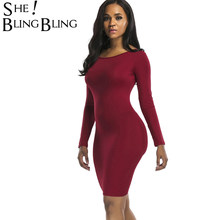 ab3d73688 SheBlingBling tamaño SML manga larga Bodycon vestido de moda espalda  abierta longitud de la rodilla vestido de cuello redondo mu.