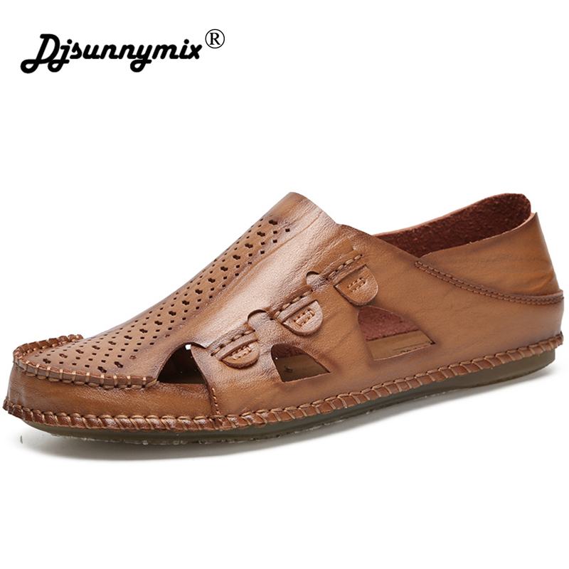 DJSUNNYMIX Genuine Leather Men Sandals Shoes Fretwork Breathable Shoes Style Retro Gladiator summer men casual shoes