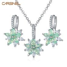 CARSINEL бренд 11 цветов модный кубический циркон ожерелье Комплект сережек для женщин Серебряный цвет цветок свадебный ювелирный набор подарки