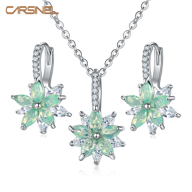 CARSINEL Brand 11 Colors Fashion Cubic Zircon Necklace Earrings Set for women Silver color Flower Wedding Jewelry Set Gifts