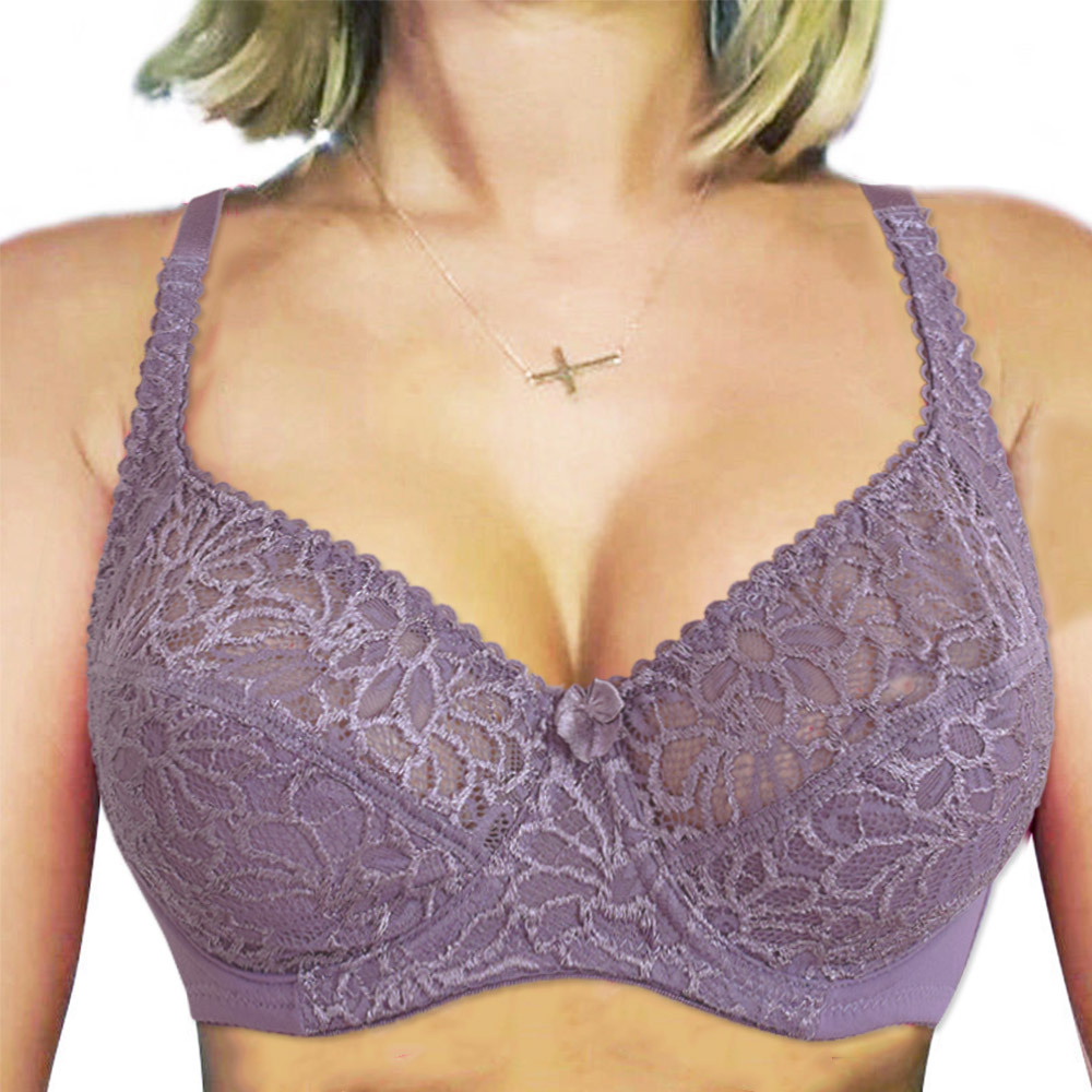 Plus Size Lingerie Lace Bras For Women Underwire Perspective Sexy Underwear Bra Embroidery Floral Bralette Unlined Brassiere BH