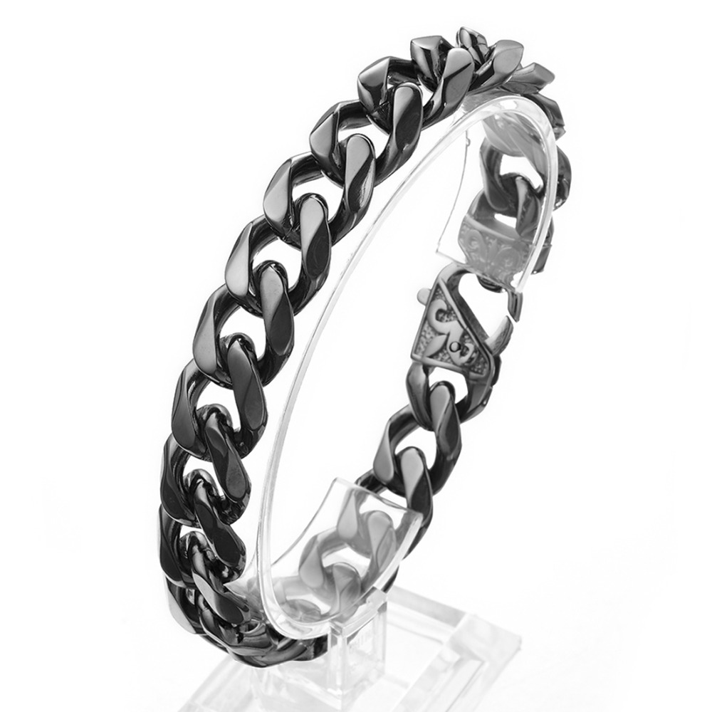 12/15mm Trendy 2019 Stainless Steel Black Color Boys Mens Customizedd Curb Cuban Chain Bracelet Bangle Cool Jewelry 7-11″ Hot
