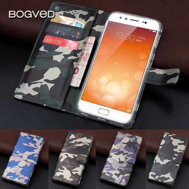Brand BOGVED Army Camo Camouflage BBK Vivo X9 Case Flip Card Slot Coque for Vivo X 9 Back Cover Wallet Funda Capa with Stand