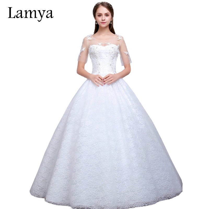 lamya 2017 elegant lace ball gown short sleeve wedding dresses high quality bridal gown real photo