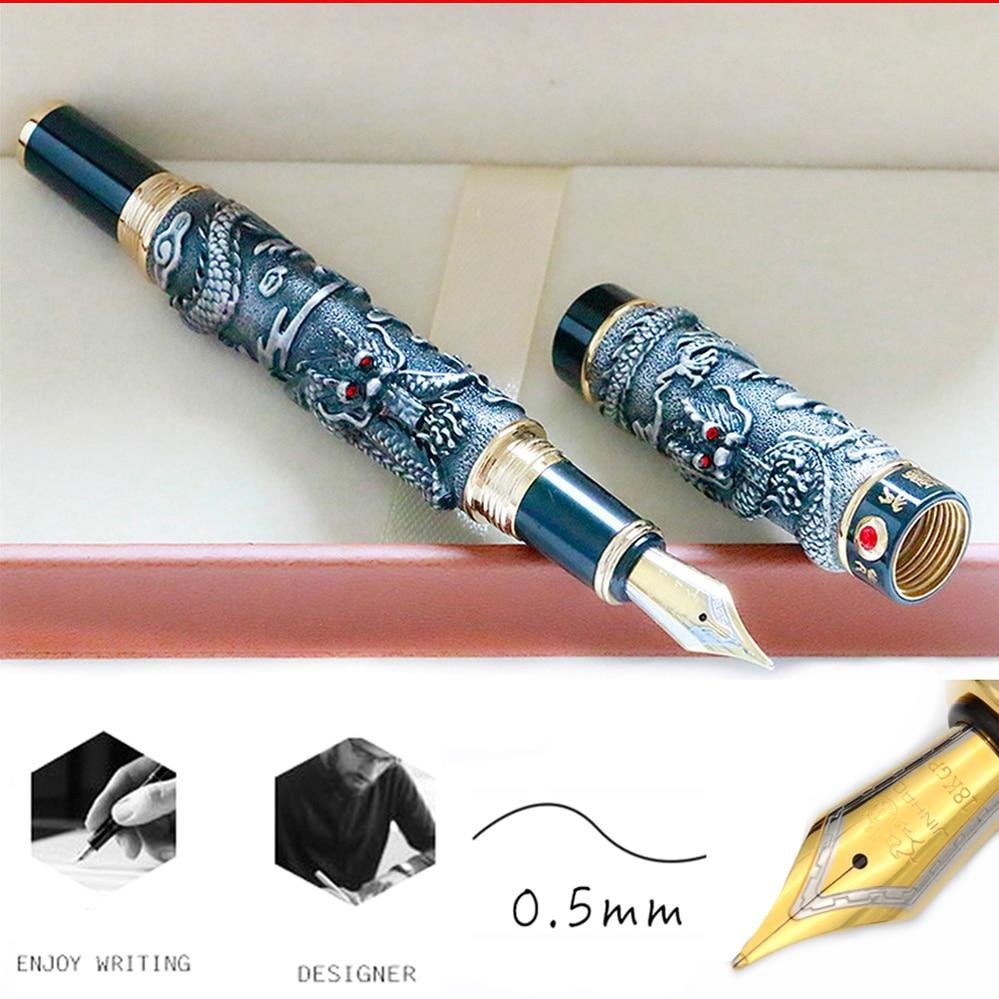 Die Meisten Komplette Geschenk JinHao Luxus Drachen Brunnen Stift Vintage 18KGP 0,5mm Nib Tinte Stifte für Schreiben Schreibwaren Büro liefert