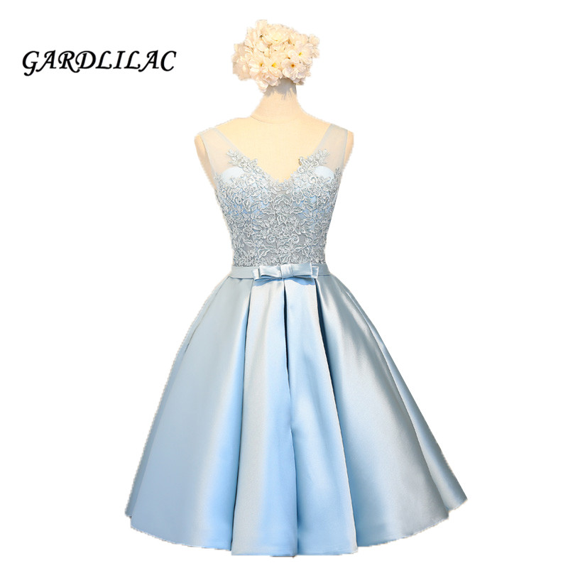 Blue Wedding Dresses 2019: Women Short Prom Dress 2019 Light Blue Satin Appliques