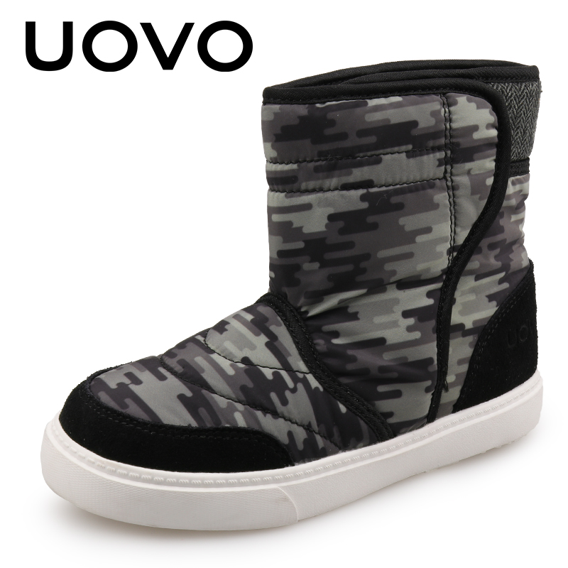 UOVO Shoes 2018 Kids Winter Boots For Boys And Girls Children Rubber Boots Fashion Warm Kids Snow Boots Size 27#-39# uovo christmas winter warm children medium knitted wool snow boots for kids girls cow suede cotton boots shoes for 4 10t ccs027