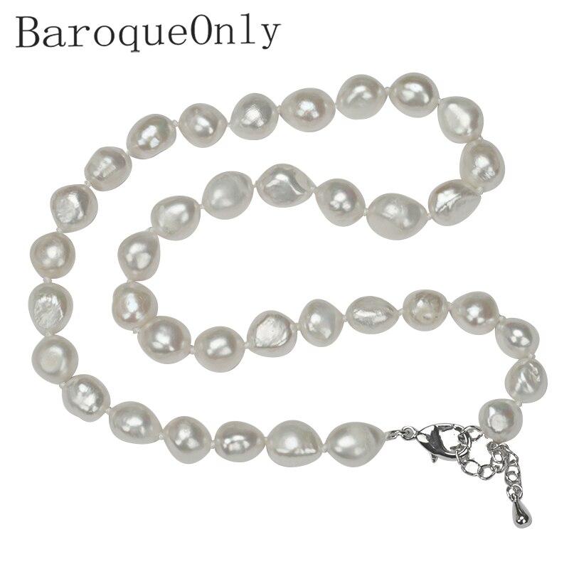 Baroqueonly preço incrível aaaa alta qualidade natural de água doce pérola colar para as mulheres 3 cores 10-11mm pérola jóias não