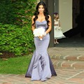 Plus Size Mermaid Silver Grey Bridesmaid Dresses 2017 Sweetheart Lilac Long Purple Maid of Honor Wedding Party Gowns B170