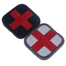Hot ONE PIECE Original Color RED CROSS Medical Assistant 3D Embroidery Patch Armband Tactical Gear Props Cloth Patches 5*5cm