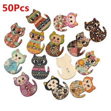 50pcs Multicolored Cat Shaped 2 Holes Holiday Supplies For P