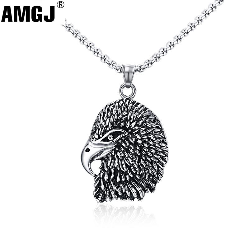 AMGJ Men's Retro Eagle Head Pendant Animals Stainless Steel Necklace Chain Punk Hip Hop Men Jewelry