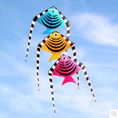 Livraison gratuite de haute qualité 100 pcs/lot cerf-volant de poisson avec poignée ligne en plein air jouet volant en nylon ripstop enfants cerfs-volants en gros - 2