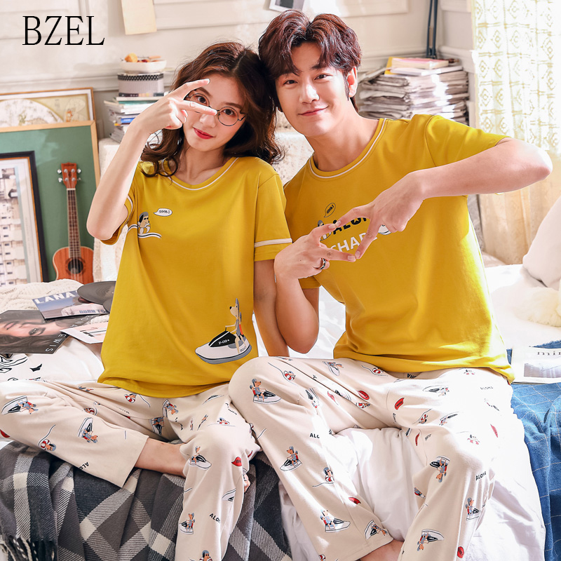BZEL Cotton Couple Pajamas Short Sleeve Sleepwear Soft Leisure Pyjama For Male&Female Lovers' Clothes Nighty For Campus Couple