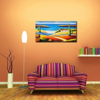 Large Abstract Wall Art Painting City By The Sea Home Decor Canvas Painting Picture Free Shipping