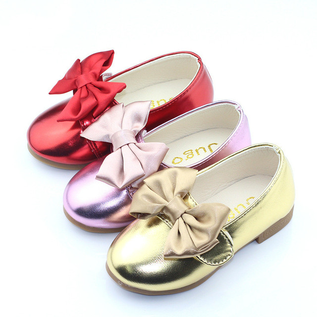 Girls Leather Shoes Spring Bowtie Sandals 2016 New Girls Dress Shoes Princess Bow Sweet Sandals Shoes for Girls School Shoes