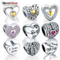 LZESHINE 15 Styles Heart Shape Charm Bead 100% Authentic 925 Sterling Silver Bead Fit Original Pandora Bracelet Women Jewelry