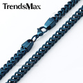 Trendsmax Mens Chain 6mm Blue Black Silver Foxtail Box Franco Box Stainless Steel Necklace Eye-Catching Shinny Necklace KNM86