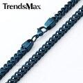 Trendsmax mens franco caja caja de cola de zorra cadena de 6mm azul negro plata acero inoxidable collar llamativo collar brillante knm86