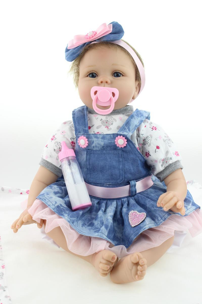 22inch 55cm Magnetic Mouth Reborn Baby Doll Soft Silicone Lifelike Toy Gift for Children Christmas Present Blue Dress Headwear sensory scout