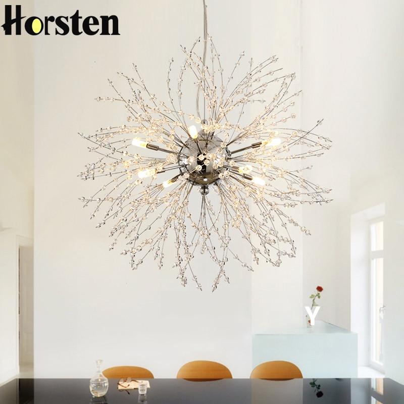 Horsten Nordic 110V-240V křišťálový pampeliška přívěsek lampa personalizované romantické přívěsek světla kreativní osvětlení pro obývací pokoj