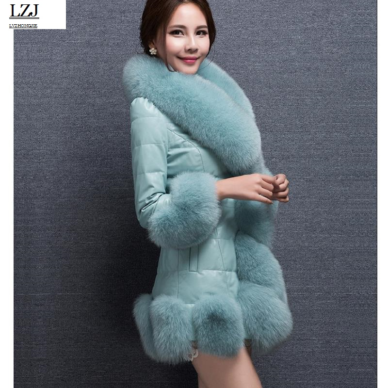 LZJ 2017 new Women Jackets Vest Fashion Autumn Winter Coat Warm Female Faux Fox Fur Vest High-Grade Slim Jacket Outerwear PC1