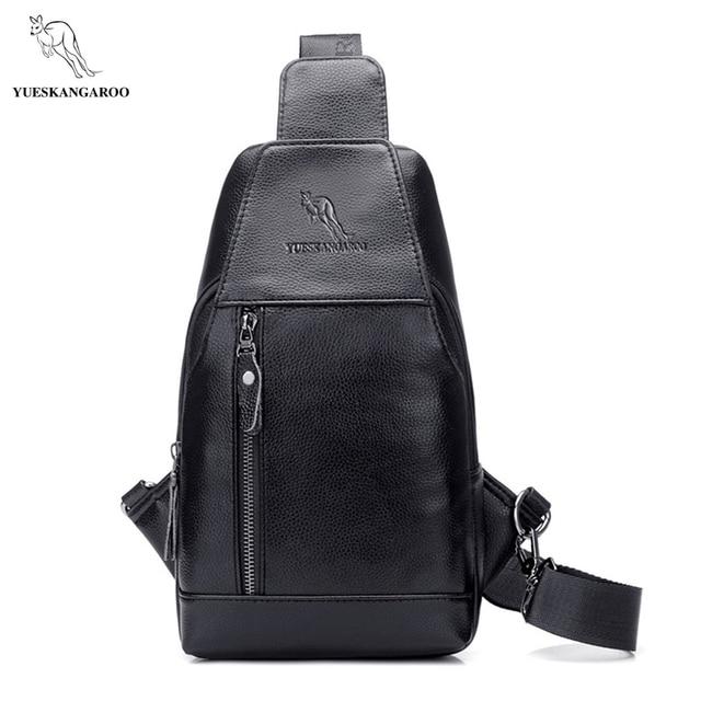 YUES KANGAROO Brand Men s PU Leather Chest Bag Sling Pack Crossbody Bag  Single Shoulder Bag Leisure Messenger Chest Bag For Men 6ba35b68f890a