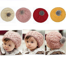 Cute Kids Baby Children Crochet Knitting Beret Hat Beanie Cap Headwear 4 Colors