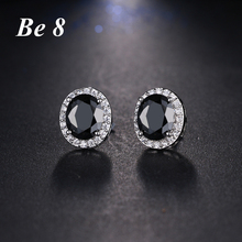 Be8 Brand Oval Shape Beauty Colorful Cubic Zirconia Pave Fashion Jewelry White Color Stud Earring For Women Elegant Gifts E-191 be8 brand top quality cubic zirconia pave flower shape fashion jewelry stud earring for women rose gold color elegant gift e 215